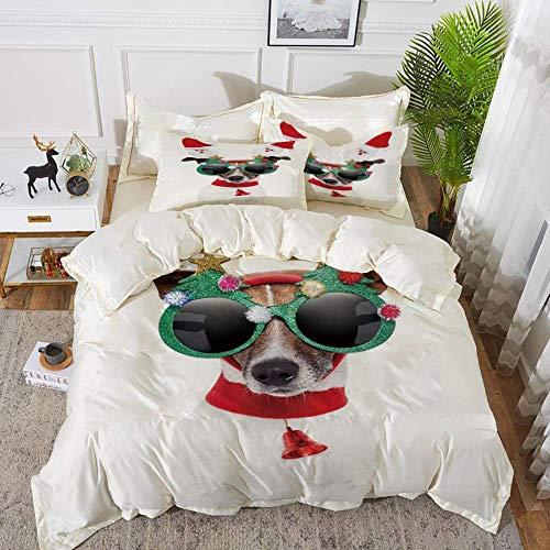 ropa de cama - Juego de funda nórdica, Navidad, gracioso cachorro Jack Russel Dog con gafas de sol hilarantes Figuras de Santa y campana, Juego de funda nórdica de microfibra hipoalergénica con 2 fund