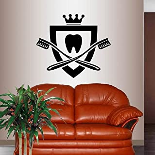 In-Style Decals Wall Vinyl Decal Home Decor Art Sticker Tooth with Crown Tooth Brushes Dental Logo Dentist Office Clinic Room Removable Stylish Mural Unique Design 521