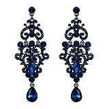 Pendientes de Mujer - Clearine Aretes en Forma de Floral Flores Candeabro, Estilo Retro Precioso Cristales Lágrimas para Boda Novia Fiesta Azul