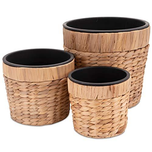 Decorasian Set di 3 vasi da fiori rotondi intrecciati in erba marina con inserto in plastica per...