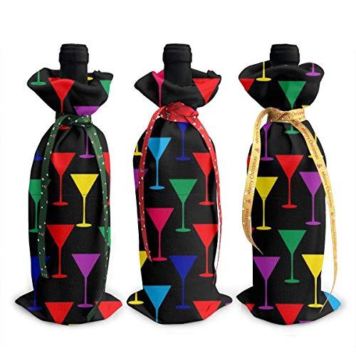 chengnan Weihnachten Weinflasche Abdeckung 3 Stück, Martini Glas Rotwein Flasche Abdeckung Taschen für Weihnachten Neujahr Hochzeit Weinprobe Party