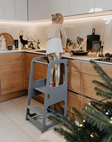 Sweet Home from wood Klappbarer Küchenhelfer, Küchenstuhl für Kinder - Küchenhelfer - Lernturm, Stuhl und Tisch (Grau)