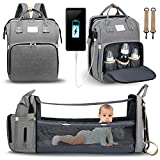 Diaper Bag Backpack, CAMTOA Baby Nappy Changing Bags with Changing Station, Portable Baby Bed 3 in 1 Multifunction Travel Bassinet, Folding Crib, Shade Cloth, Changing Pad, Large Capacity, Waterproof