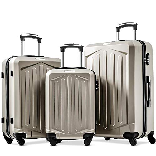 Sunangmas Samsonite 4 Spinners Suitcase 3 Piece Set Hand Shell Cabin Expandable Luggage Lightweight Suitcase with Number Lock for Travel 20/24/28 Inch
