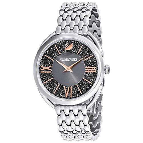Reloj de cristal Swarovski auténtico, correa de metal, color gris, tono plateado, con piedras de alta calidad, hecho en Suiza, accesorio para el día a día para mujeres