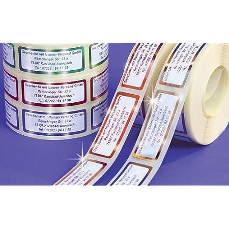 ADRESS-AUFKLEBER mit Wunschtext, Metallic-blau | 500 schöne geprägte Adress-Etiketten | Namens-Aufkleber, ca. 51 x 19 mm, für 1 bis 5 Zeilen