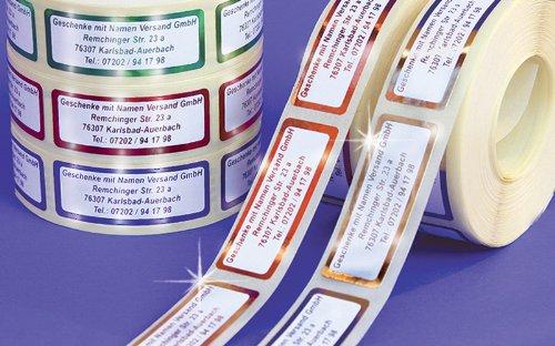 ADRESS-AUFKLEBER mit Wunschtext, Metallic-rot | 500 schöne geprägte Adress-Etiketten | Namens-Aufkleber, ca. 51 x 19 mm, für 1 bis 5 Zeilen