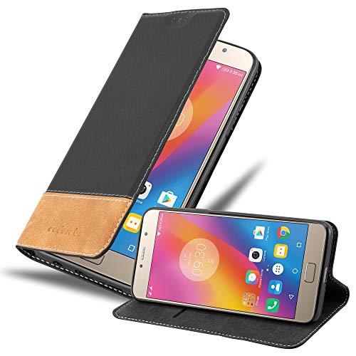 Cadorabo Hülle für Lenovo P2 in SCHWARZ BRAUN - Handyhülle mit Magnetverschluss, Standfunktion & Kartenfach - Hülle Cover Schutzhülle Etui Tasche Book Klapp Style