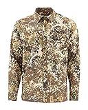 Simms Camisa de pesca de manga larga de doble recorrido, protección solar UPF 30, L, Camuflaje Río
