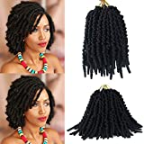 ALENTOO 6 Packs Pre Twisted Spring Twist Hair 8 Inch Short Curly Bomb Twist Crochet Braids Pre-Twisted Passion Twists Curly Bob Braiding Hair Extensions(15strands/pack, 1B#)