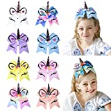 DEEKA Large Unicorn Cheer Hair Bows 8 Pack 7' for Teen Girls Cheerleader Sports