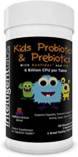 6 Billion CFU Kids / Children's Probiotics with Prebiotics, Sunfiber and Fos, for 10x More Effectiveness. One A Day Great ...