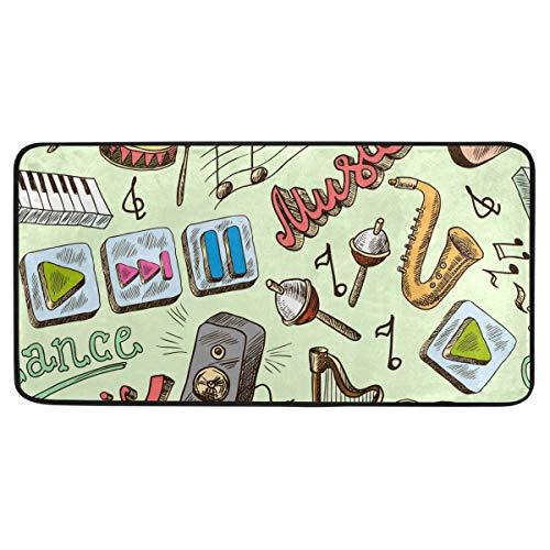 Bardic Anti-slip Deurmat Muziek Thema Gitaar Hoorn Radio Note Deurmat Machine Wasbare Slaapkamer Mat Voor Woon-Dineren Kamer Slaapkamer Keuken,50.8x99cm