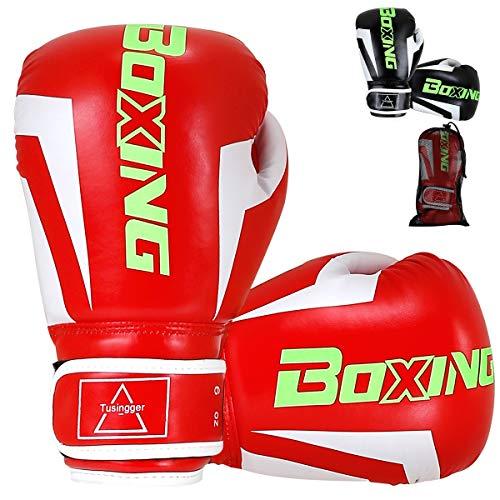 Tusingger Kids Boxing Gloves, Boxing Gloves for Kids 3-15 ,Cool Style Boxing Gloves,Kickboxing Gloves,Muay Thai,Sparring Gloves,Heavy Bag Gloves for Boxing (red, 6oz)