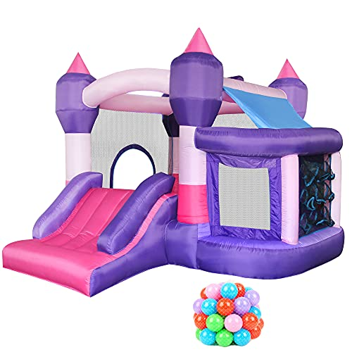 RETRO JUMP Inflatable Kids Bounce House, Princess Bounce Castle, Little Girls Bouncy Jumper with...