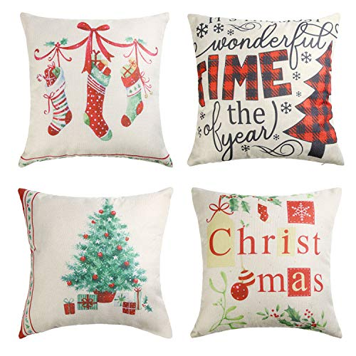FADEPLEX Christmas Pillow Covers 18x18 Inches Set of 4 Christmas Decorations Clearance - Farmhouse Check Plaid Throw Pillowcase Winter Holiday Cotton Linen Cushion Case for Home Décor