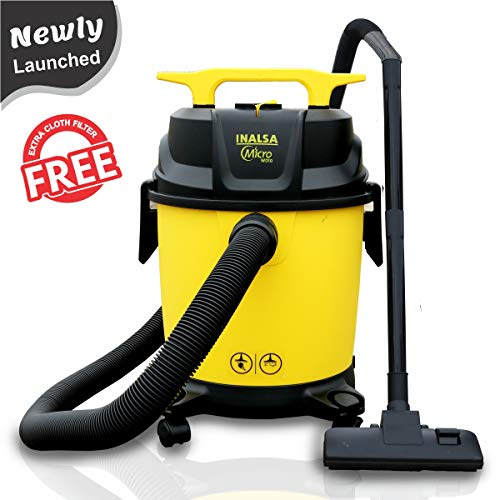Inalsa Vacuum Cleaner Wet and Dry Micro WD10 with 3in1 Multifunction Wet/Dry/Blowing| 14KPA Suction and Impact Resistant Polymer Tank,(Yellow/Black)
