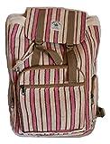 HIMALAYAN - Mochila de cáñamo / mochila de cáñamo / mochila de cáñamo / bolsa de cáñamo con cordón, rayas rosas y blancas, hecha a mano en Nepal (fabricado en Nepal) - Modelo 67.6