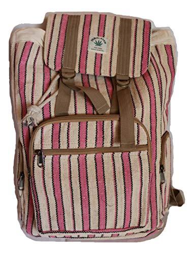 HIMALAYAN Hanf Rucksack/Hanf Tagesrucksack/Hanf Wanderrucksack/Hanf Umschlag Rucksack mit Kordelzug – rosa weiss Streifen – handgemacht in Nepal (Made in Nepal) – Model 67.6