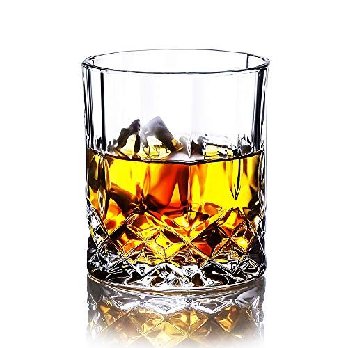 Whiskey Glasses Set of 6 with Flower Engraving, 11oz Lead-Free Crystal Glasses, Rock Style Old Fashioned Glass For Drinking Scotch, Bourbon, Cognac, Irish Whisky and Old Fashioned Cocktails.
