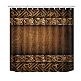 LB Rustic Wood Barn Door Shower Curtain,Vintage Style Western Country Shower Curtains for Bathroom,Waterproof Fabric Bath Curtains 72x72 Inches