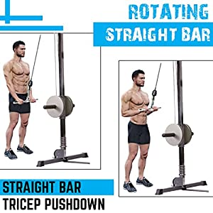 A2ZCARE Combo Tricep Press Down Cable Attachment | Multi-Option: Double D Handle, V-Shaped Bar, Tricep Rope, Rotating Straight Bar (V Handle+Tricep Rope+Rotating Bar+V-Shaped Bar)