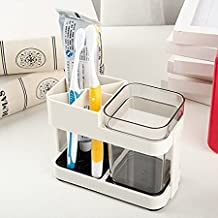 Zollyss 1 Cup Toothbrush Toothpaste Stand Holder Bathroom Storage Organizer, Plastic