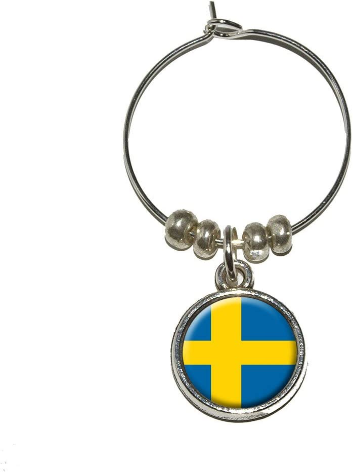 Sweden Houston Max 66% OFF Mall Swedish Flag Wine Glass Ring Charm Marker Drink Stem