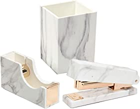 3 Pack Office Stationery Kit Marble Print Desk Pen Holder Cup | Tape Dispenser | Desktop Manual Staplers with Gold Tone for Office School Home Desktop Accessories Supplies Set (3 Pack Stationery Set)