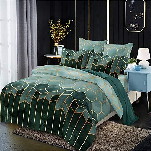 OKJK Geometry Gilt - Juego de ropa de cama con funda de edredón, estilo nórdico, tamaño king y queen, con funda de almohada (verde, 135 x 200 cm)