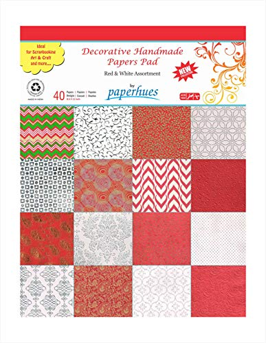 Paperhues RedWhite Celebration Collection Papers For Scrapbooking 85x11quot Pad 40  Sheets