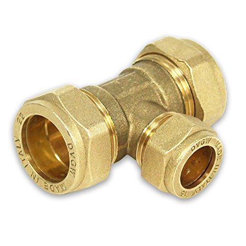 Messing-Klemmverschraubung für Kupferrohre, T-Stück reduziert, 28-22-28mm