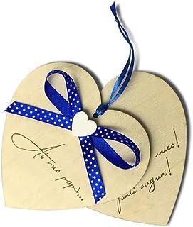 Biglietto auguri Festa del Papà, cuore in legno personalizzato a mano con dedica