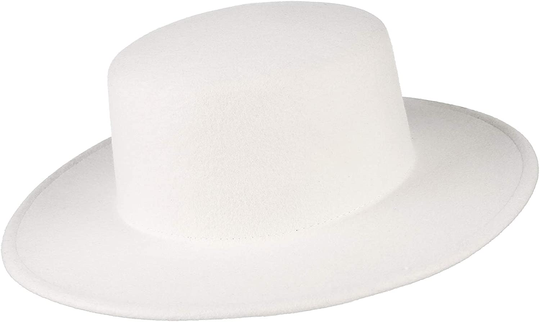 GEMVIE Women's Classic Wool Flat Top Hat Wide Brim Boater Bowler Hat Church Derby Fedora Hats