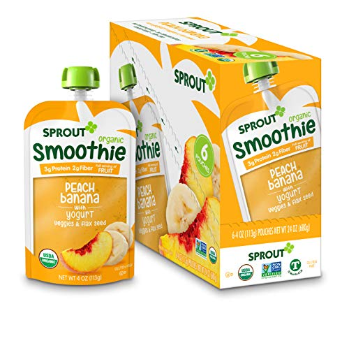 Sprout Organic Toddler Smoothie, Peach Banana w/ Yogurt, 4 Ounce Pouch (Pack of 6)