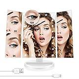 Miroir de Maquillage Miroir de courtoisie à Trois Volets avec 22 LED à grossissement 10x Commutateur à écran Tactile réglable Double Alimentation Coiffeuse Miroirs cosmétiques de comptoir