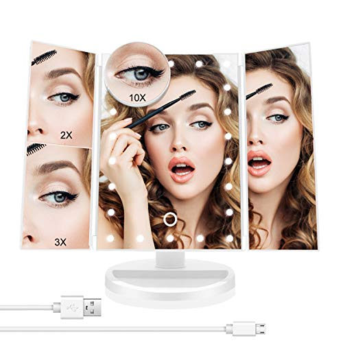 Oacvien Trucco Specchio Tri-Piega Vanta Mirror con 22 LED 10x Ingrandimento Regolabile Touch Screen Switch Dual Power Supply Dressing Tavolo Controsoffitto Cosmetici