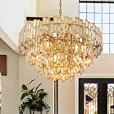 ANTILISHA Gold Crystal Chandelier Lighting Foyer Hall Entry Way Chandeliers Light Fixture for High Ceiling Sloped Pendant Hanging French Empire Style Round Large