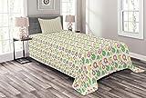 ABAKUHAUS Obst Tagesdecke Set, Äpfel in abstrakten Streifen, Set mit Kissenbezügen Moderne Designs, für Einselbetten 170 x 220 cm, Dunkler Coral Grün Senf