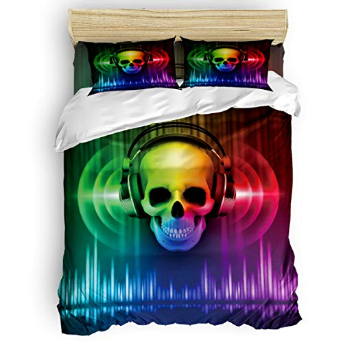 SunShine Day Close-up Colorful Skull with Earphone Ultra Soft Microfiber Teen Bedding Set, Cool AudioMusical Melody 4 Piece Twin Bed Set - 1 Flat Sheet, 1 Quilt Cover, 2 Pillow Cases