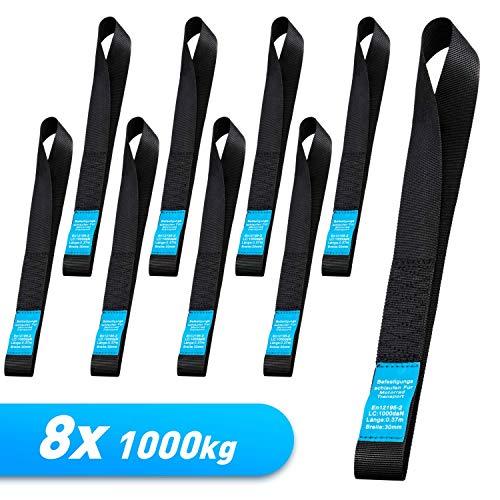 WATSABRO 8 stuks spanbanden de sterkste bevestigingslussen, spanriem met ratel 1000 kg werkbelasting 30 cm voor het vervoer van motorfiets/fiets lashing