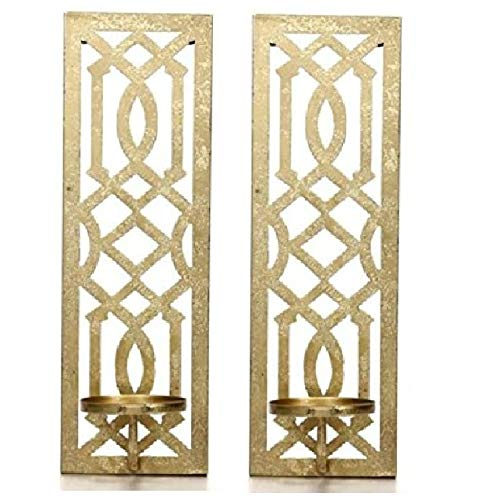 Hosley Set of 2 Metal Gold Wall Sconce 16.5 Inch High - Your Choice of Colors/Design. Great Wall Decor Ideal Gift for Wedding Party Spa Home Decor O5