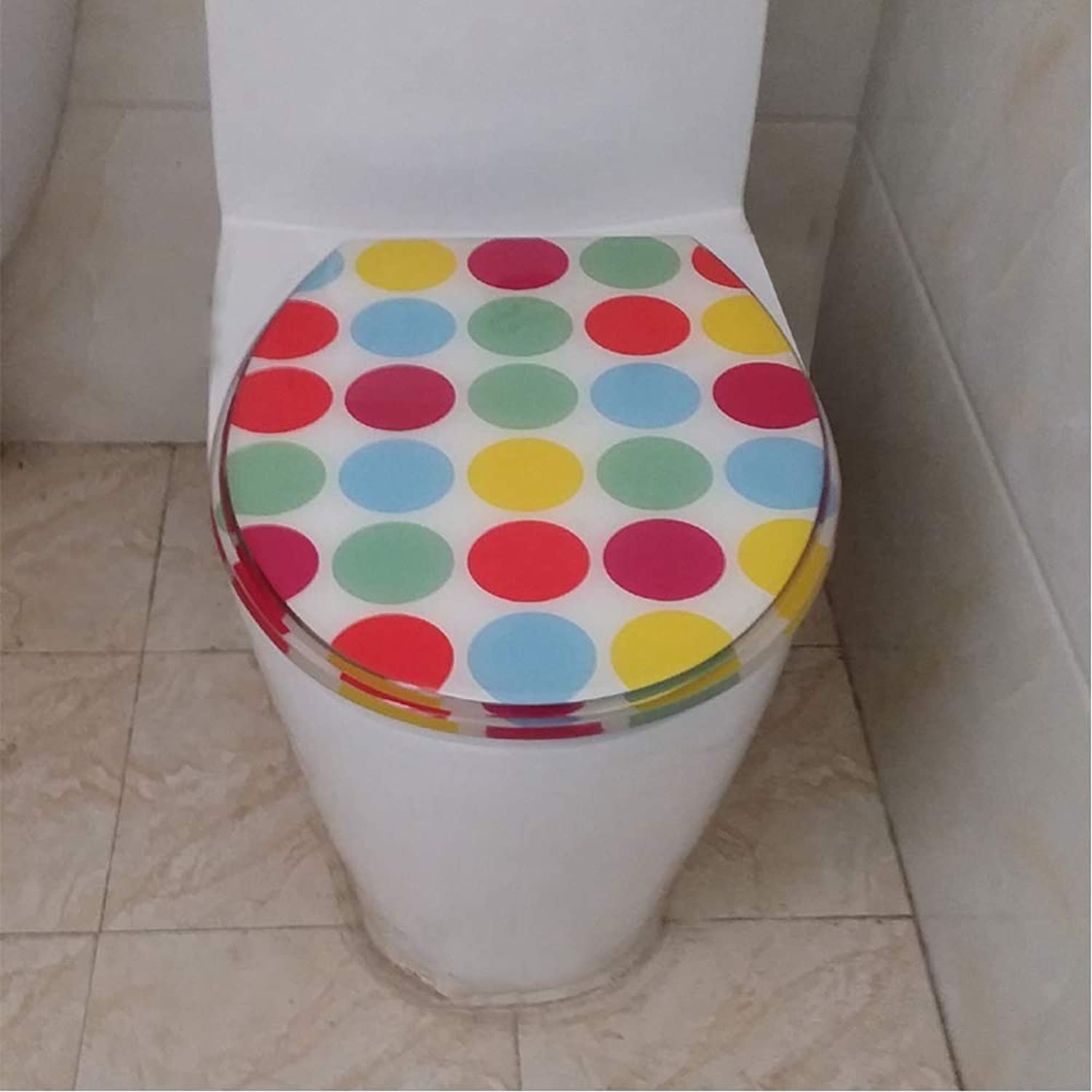 JKYQ colorful circles Toilet lid Universal Anti-Bacterial waterproof thickening Durable Suitable for UVO type Toilet
