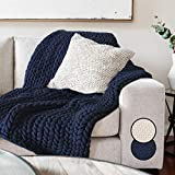 Navy Throw Blanket - Chunky Knit Blanket Throw. Super Thick Warm & Cosy Throw Blanket Luxury No Shedding Braided Cable Knit Blanket, Chunky Knit Crochet Blanket, Chunky Knit Blanket Yarn Knitted