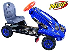 Placeholders for Nerf blasters, brackets & darts Sturdy tubular steel frame with Race-Styled pedals & adjustable bucket seat Sporty 3 point steering wheel for responsive, quick steering Speed can be kept in-check with the easy-to-use handbrake Low pr...