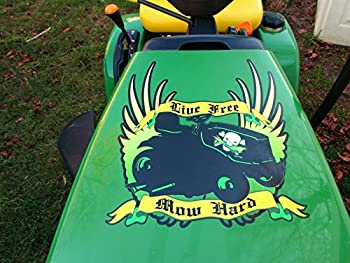 East Coast Vinyl Werkz Hood Decal - Live Free - MOW Hard - Funny Decal for John Deere & Other Lawn mowers