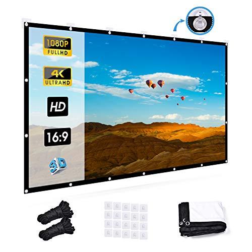 UTEBIT Projektion Leinwand 120 Inch Projector Screen Beamer Leinwand 16:9 Projektionswand Faltbar 4K Filmleinwand mit 20 Hooks für Außen- und Innenbereich, Heimkino,...