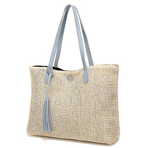 Ninomi geweven damestas mode strand stro-tas eenvoudige schoudertas handtas. grijs