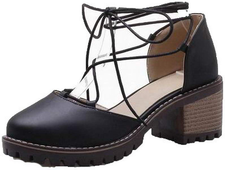 AmoonyFashion Women's Lace-up Round-Toe Kitten-Heels Sandals,BUTLT008108