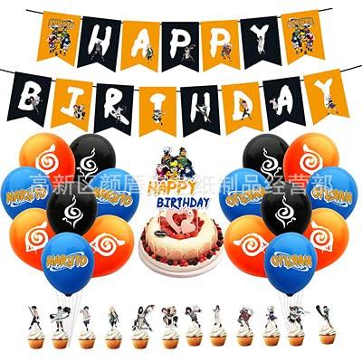 Hilloly Birthday Decorations Set, Decoracion de Fiesta Cumpleaños para, 44 Pcs Naruto Globos De Anime, Japonés Feliz Cumpleaños Banner Globo Tarjeta De Pastel Fiesta Combinada para Niños